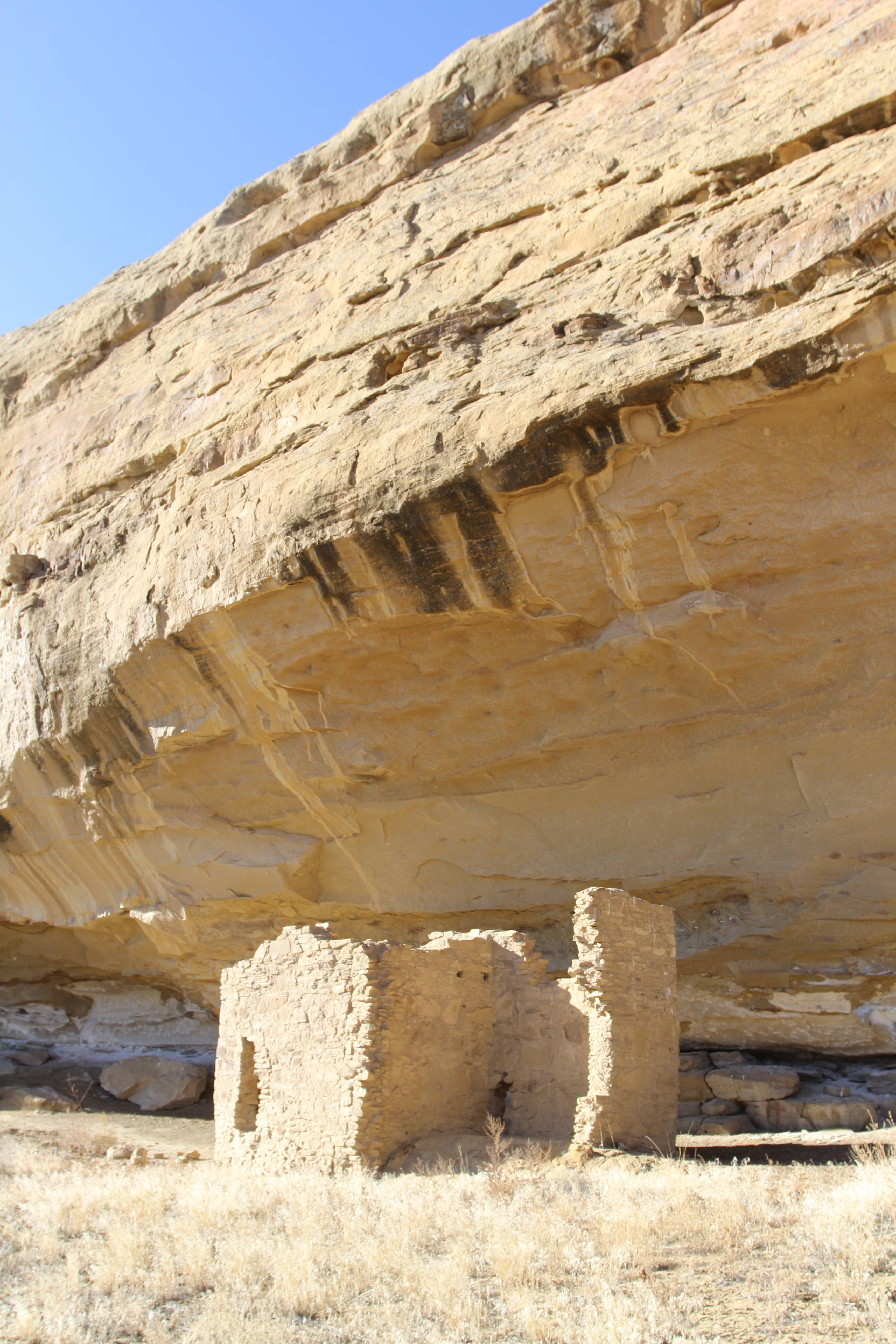 An ancient Chacoan alcove house at Gallo campground in Chaco Canyon