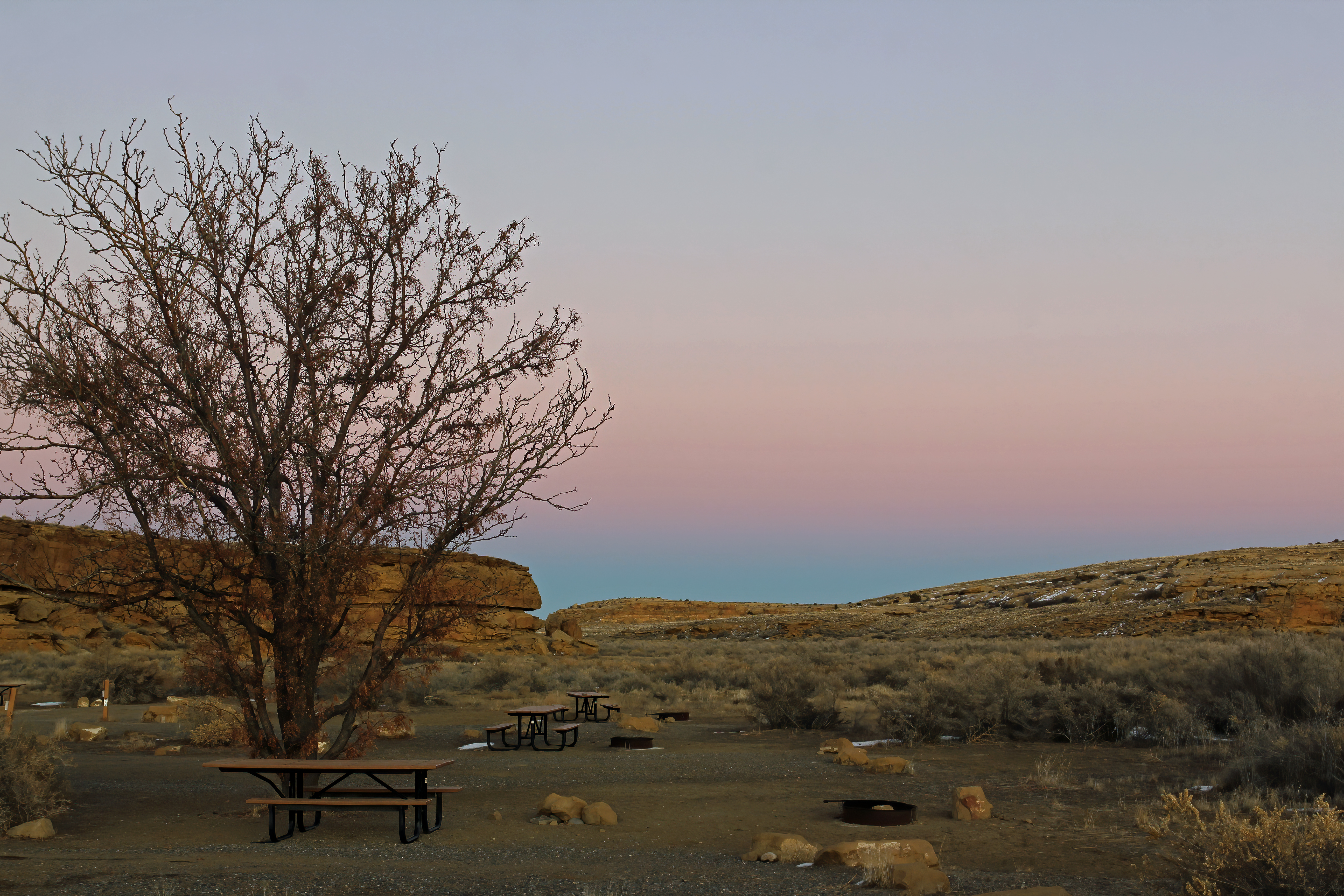 Sunset of the Chaco Canyon from the Gallo campground