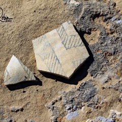 Pottery shards spotted on the Pueblo Alto trail at Chaco Canyon in Nageezi, NM