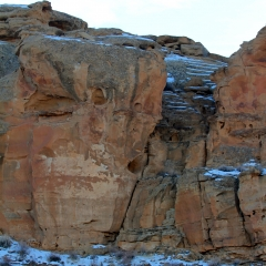 Ancient chacoan stairways in Chaco Canyon