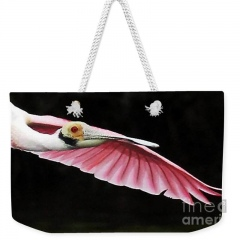roseate-spoonbill-in-flight-jennifer-robin-weekender-tote